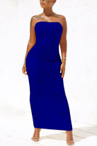 Blue Sexy Fashion Tight Tube Top Dress