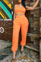Orange Sexy Casual Solid Split Joint U Neck Sleeveless Two Pieces