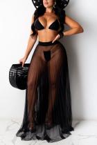 Black Sexy Fashion Swimsuit Three-piece Set