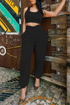 Black Sexy Casual Solid Split Joint U Neck Sleeveless Two Pieces