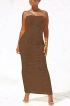 Brown Sexy Fashion Tight Tube Top Dress
