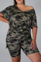 Camouflage Fashion Casual Camouflage Print Slit V Neck Plus Size Two Pieces