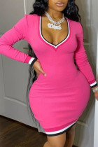 Rose Red Sexy Casual Solid Split Joint V Neck Long Sleeve Plus Size Dresses