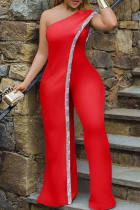 Red Sexy Solid Sequins One Shoulder Skinny Jumpsuits