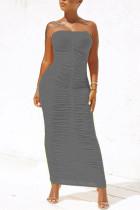 Grey Sexy Fashion Tight Tube Top Dress
