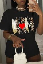 Black Fashion Casual Print Basic O Neck Plus Size Tops