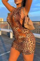 Leopard Print Sexy Leopard Print Backless Strap Design Halter Sleeveless Dress