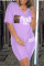 Purple Fashion Casual Letter Print Pocket V Neck Short Sleeve Two Pieces