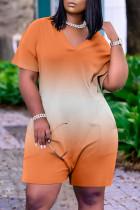 Orange Fashion Casual Gradual Change Print Basic V Neck Loose Romper