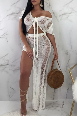 White Chic V Neck Hollow-out Cotton Cover-Ups