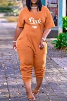 Orange Fashion Casual Letter Print Basic V Neck Boot Cut Jumpsuits
