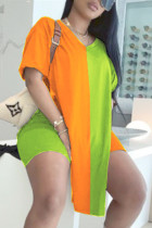 Orange Green Fashion Casual Patchwork Basic V Neck Short Sleeve Two Pieces