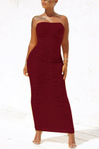 Wine Red Sexy Fashion Tight Tube Top Dress