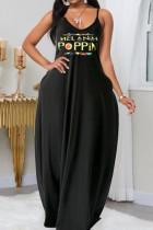 Black  Fashion Sexy adult Slip Letter Patchwork Print Stitching Plus Size