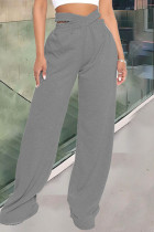 Dark Gray Fashion Casual Solid Split Joint Regular High Waist Trousers