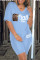 Light Blue Fashion Casual Letter Print Pocket V Neck Short Sleeve Two Pieces
