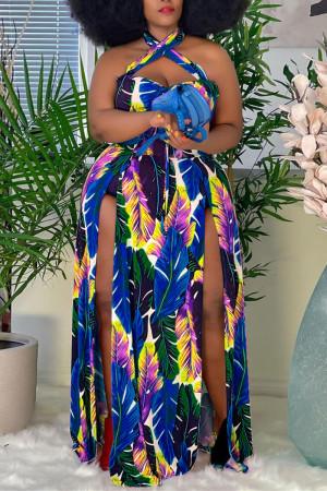 Blue Fashion Sexy Plus Size Print Backless Slit Halter Sleeveless Dress