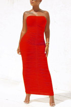 Red Sexy Fashion Tight Tube Top Dress
