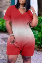 Red Fashion Casual Gradual Change Print Basic V Neck Loose Romper