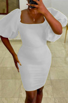 White Sexy Casual Solid Basic Square Collar Short Sleeve Dress