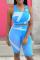 Pink Sportswear Print Split Joint U Neck Sleeveless Two Pieces