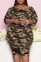 Army Green Fashion Casual Camouflage Print Basic O Neck Three Quarter Two Pieces