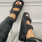 Black Hollowed Out Split Joint Opend Comfortable Out Door Shoes