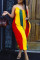 Red Yellow Sexy Casual Striped Print Backless V Neck Plus Size Jumpsuits