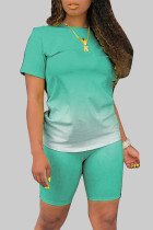 Green Fashion Casual Gradient Short Sleeve Two Pieces
