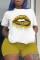 Yellow Fashion Casual Sportswear Print O Neck Plus Size Two Pieces