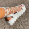 White Casual Street Bandage Hollowed Out Split Joint Opend Comfortable Out Door Shoes