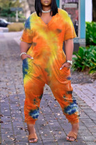 Orange Fashion Casual Print Tie-dye V Neck Loose Jumpsuits