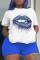 Blue Fashion Casual Sportswear Print O Neck Plus Size Two Pieces