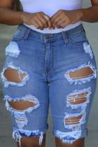 Blue Fashion Sexy Tight Ripped Denim Shorts