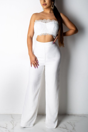 White Sexy Solid Lace Dew Belly Jumpsuit