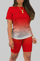 Tangerine Red Fashion Casual Gradient Short Sleeve Two Pieces