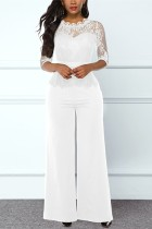 White Fashion Sexy Dignified Lace Jumpsuit