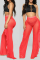 Black Sexy Solid Flounce Straight Mid Waist Straight Solid Color Bottoms
