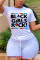 White  Fashion Active adult Ma'am O Neck Print Two Piece Suits Stitching Plus Size