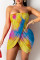 Yellow Fashion Sexy Print Backless Strapless Irregular Dress