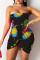Black Fashion Sexy Print Backless Strapless Irregular Dress