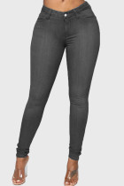 Grey Fashion Casual Solid Basic High Waist Skinny Jeans