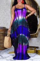 Purple Sexy Casual Print Tie Dye Backless Spaghetti Strap Sleeveless Dress