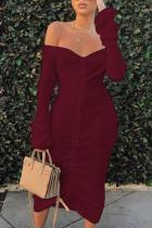 Wine Red Street bandage Draped One word collar Dresses