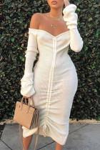 White Street bandage Draped One word collar Dresses