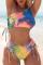 Colour Sexy Patchwork Frenulum Tie-dye Swimwears