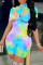 Colour Fashion Sexy Print Hollowed Out Turtleneck Regular Romper