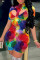 Multicolor Fashion Sexy Print Hollowed Out Turtleneck Regular Romper