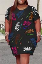 Black Fashion Casual Plus Size Print Basic O Neck Short Sleeve Dress