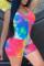 Multicolor Fashion Sexy Print Tie Dye Backless U Neck Skinny Romper